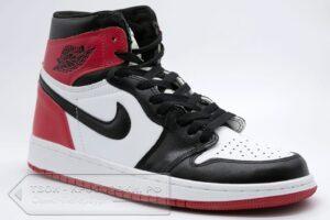 Кроссовки Air Jordan 1 High бело-черно-красные женские/мужские арт. N636